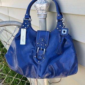 Blue hobo bag w tassel, blue, vegan, faux leather